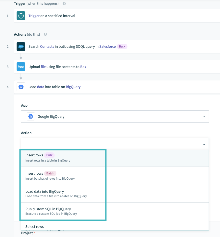 New triggers and actions for BigQuery