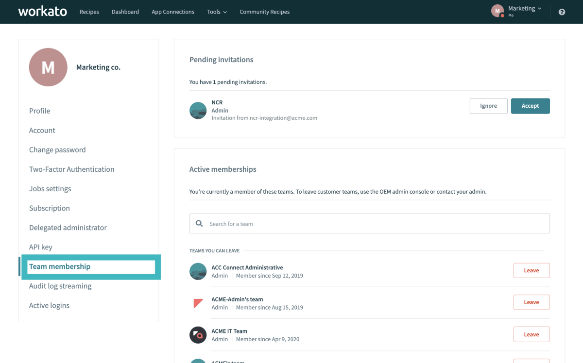 The Leave Teams feature makes team membership management easier