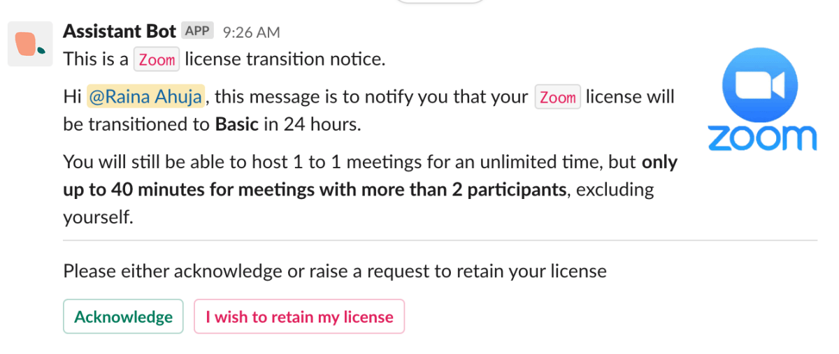 Assistant Bot notifies users their accounts will be de-provisioned