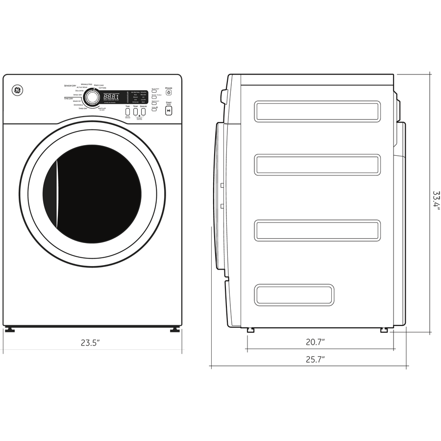 medium resolution of model dcvh480ekww ge 4 0 cu ft capacity electric dryer