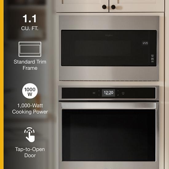 https www weaverappliance com whirlpool wmt55511ks 1 1 cu ft built in microwave with standard trim kit 19 1 8 height