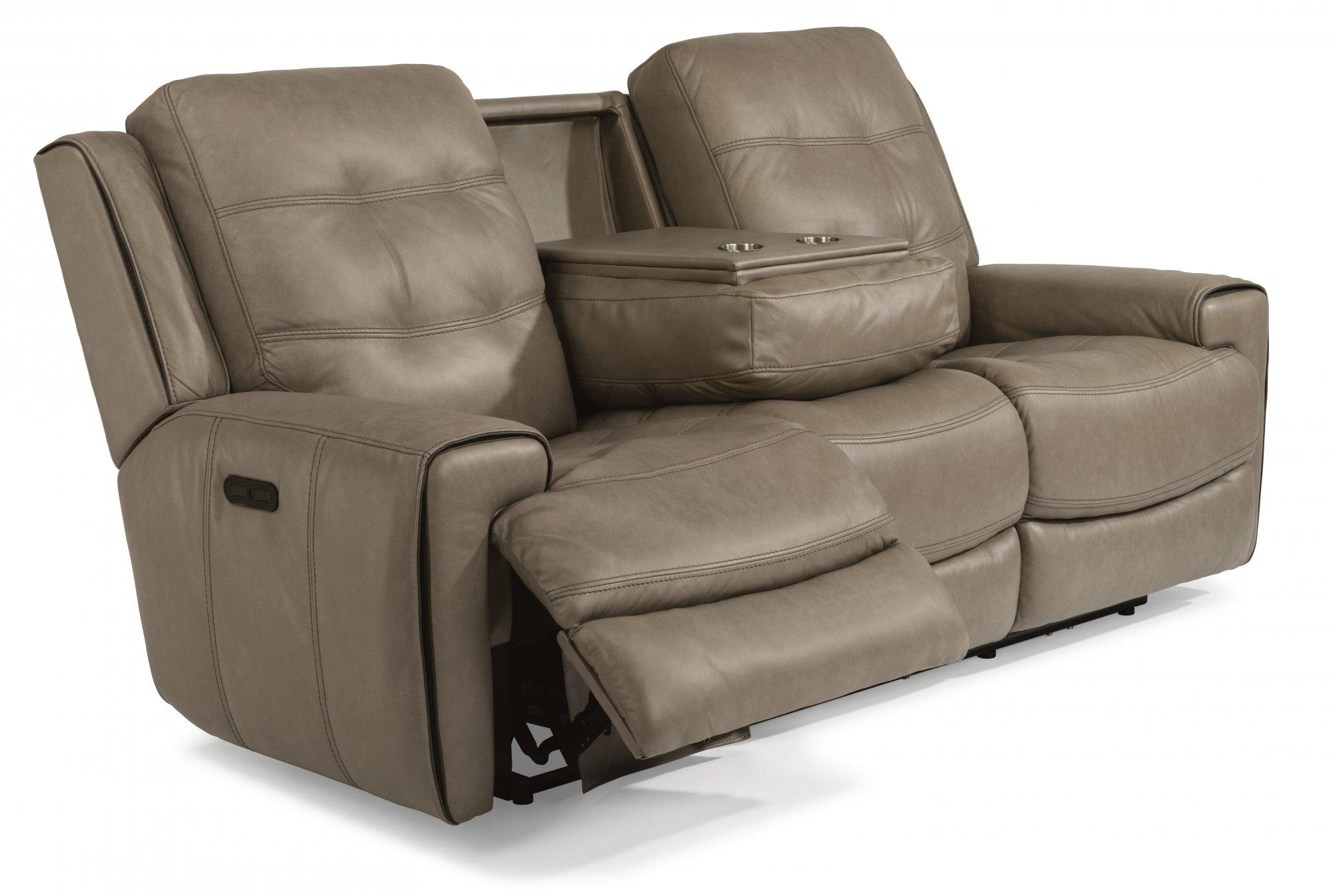 Flexsteel 1681 62ph Wicklow Leather Power Reclining Sofa