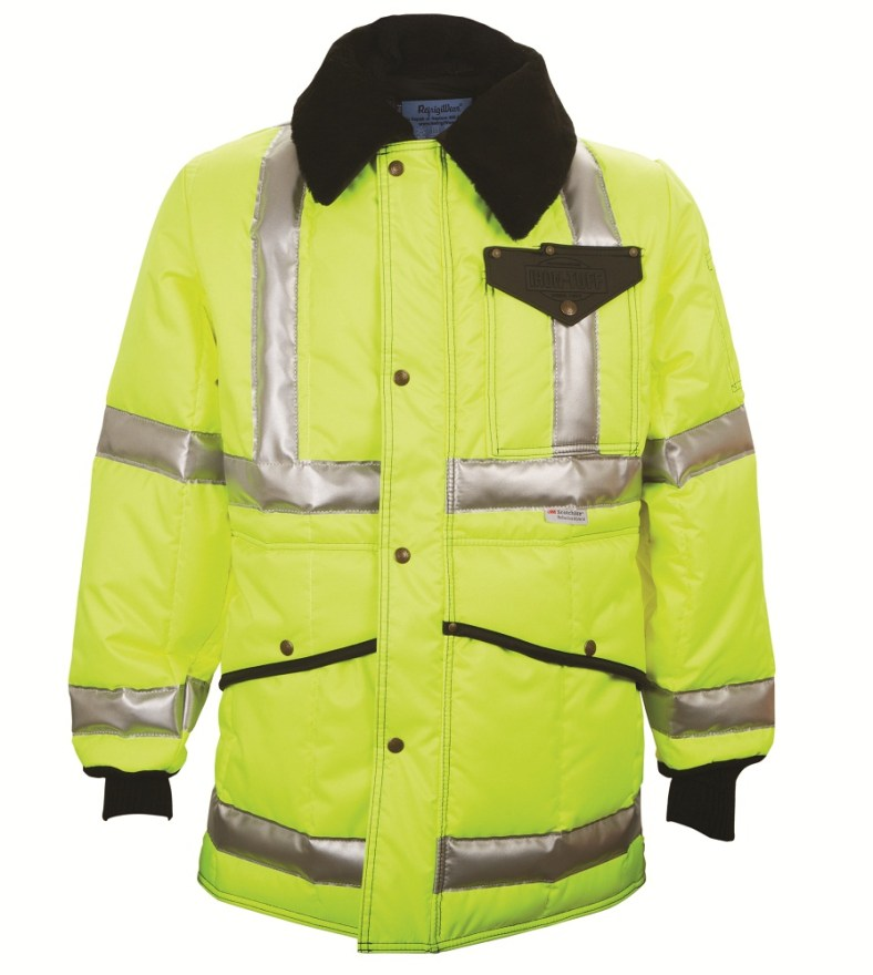 RefrigiWear Men's Hivis? Iron-Tuff? Jackoat Jacket with Reflective Tape HiVis Lime/Navy Large