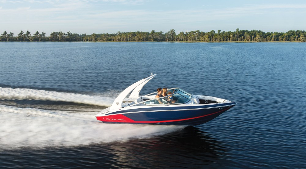 medium resolution of the 2100 with a mediterranean blue hull and a flame red bootstripe creates the most nautical combination