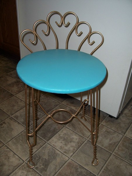 chair stool retro banquet covers white vintage aqua turquoise vanity w goldtone metal legs back sold by town consignment boutique