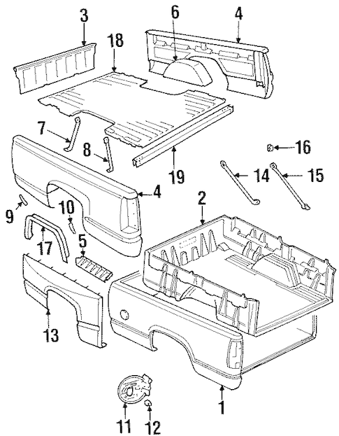 BOX ASSEMBLY Parts for 1993 GMC K1500 Pickup