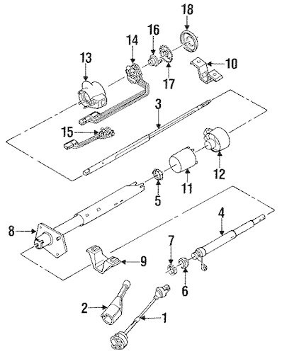 STEERING COLUMN ASSEMBLY Parts for 1993 GMC Suburban K2500