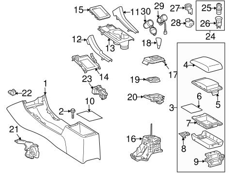 Genuine OEM CENTER CONSOLE Parts for 2006 Scion tC Base