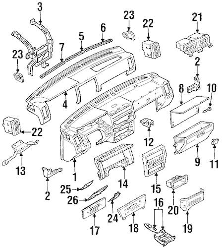 INSTRUMENT PANEL for 1987 Nissan D21