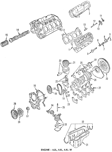 ENGINE PARTS for 1996 Ford Bronco