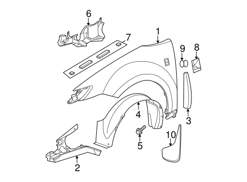 FENDER & COMPONENTS for 2004 Saturn Ion (3)