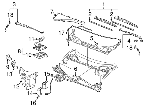 WIPER & WASHER COMPONENTS for 2004 Chevrolet Venture