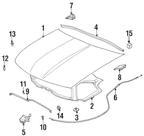 HOOD & COMPONENTS for 2002 Saturn SC2