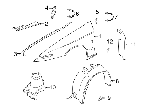 OEM FENDER & COMPONENTS for 2001 Saturn L200