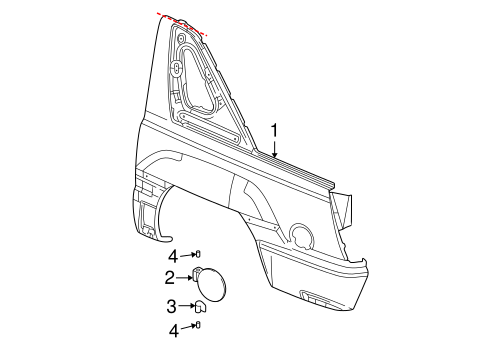 QUARTER PANEL & COMPONENTS for 2004 Chevrolet Avalanche