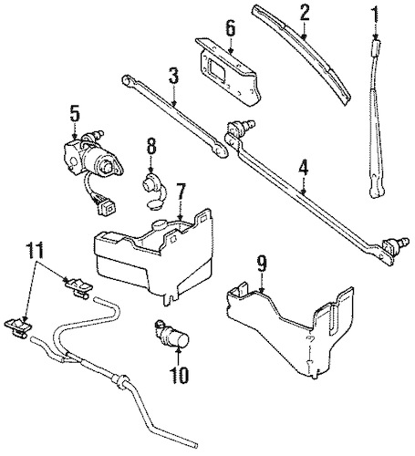 WIPER & WASHER COMPONENTS for 1990 Jeep Wrangler
