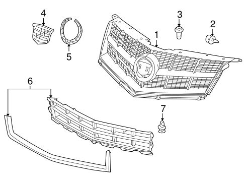 GRILLE & COMPONENTS for 2012 Cadillac SRX (Performance)
