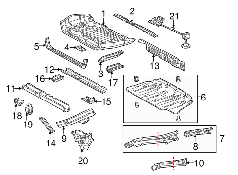 Genuine OEM REAR FLOOR & RAILS Parts for 2014 Toyota