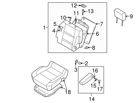 FRONT SEAT COMPONENTS for 2004 Nissan Titan