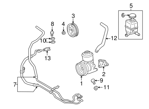 POWER STEERING PUMP & COOLER LINES for 1999 Toyota Land