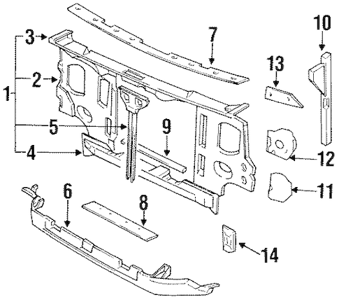 RADIATOR SUPPORT for 1996 Nissan Pickup