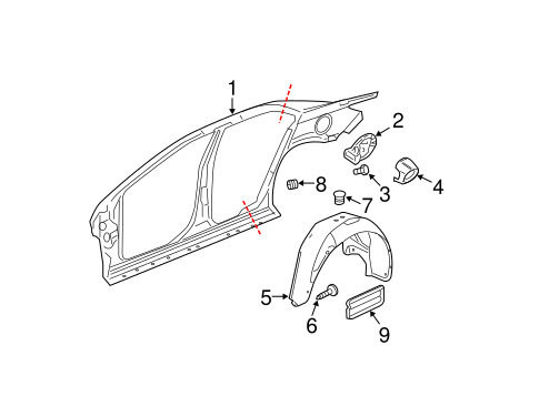 QUARTER PANEL & COMPONENTS for 2009 Chevrolet Malibu