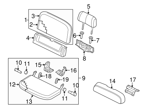 REAR SEAT COMPONENTS for 2013 Nissan Frontier