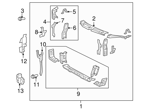 RADIATOR SUPPORT for 2009 Toyota Camry