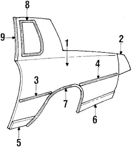 QUARTER PANEL & COMPONENTS 1984 Oldsmobile Cutlass Supreme