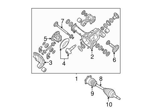 FRONT SUSPENSION/CARRIER & FRONT AXLES for 2004 Nissan