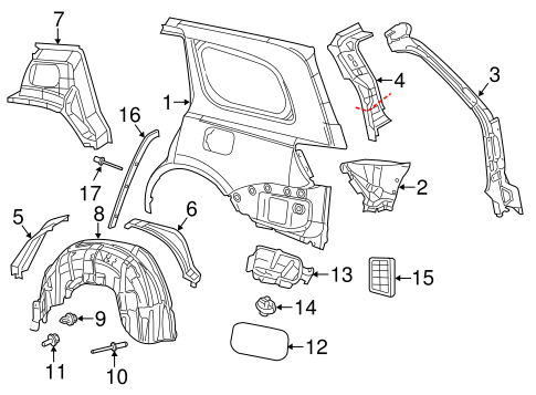 QUARTER PANEL & COMPONENTS for 2014 Jeep Grand Cherokee