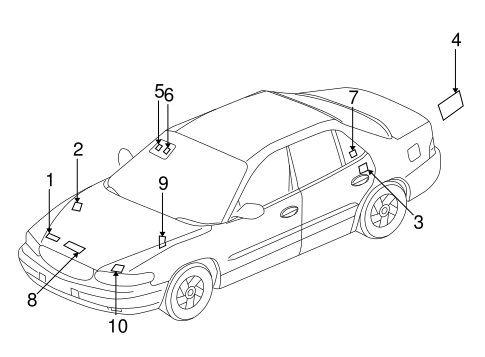 LABELS for 1998 Buick Century
