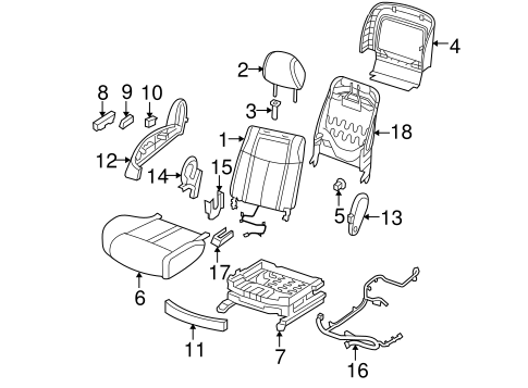 PASSENGER SEAT COMPONENTS for 2012 Nissan Maxima