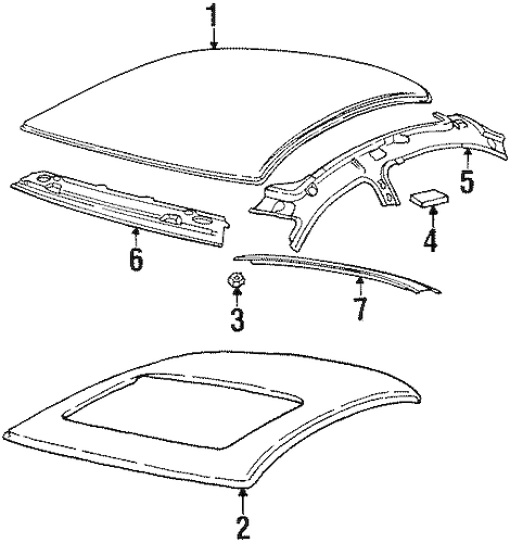 ROOF & COMPONENTS Parts for 1998 Saturn SL2