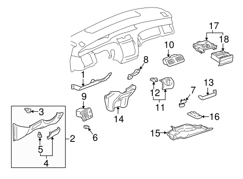 INSTRUMENT PANEL COMPONENTS for 2003 Toyota Avalon