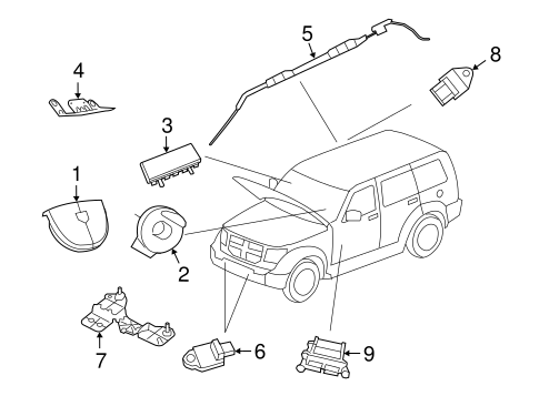 AIR BAG COMPONENTS for 2009 Jeep Liberty