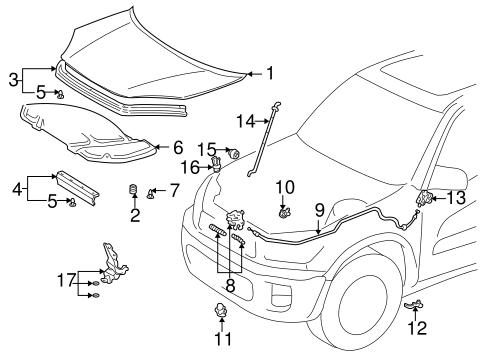 Genuine OEM HOOD & COMPONENTS Parts for 2004 Toyota RAV4