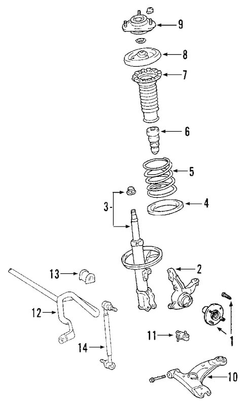 Genuine OEM FRONT SUSPENSION Parts for 2008 Toyota RAV4