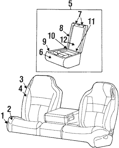 FRONT SEAT COMPONENTS for 1999 Dodge Ram 2500