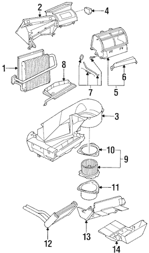 EVAPORATOR & HEATER COMPONENTS for 1996 Saturn SL1