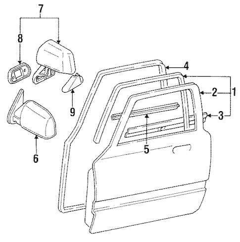 DOOR & COMPONENTS for 1989 Toyota Pickup