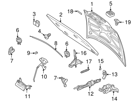 HOOD & COMPONENTS for 1999 Volvo V70