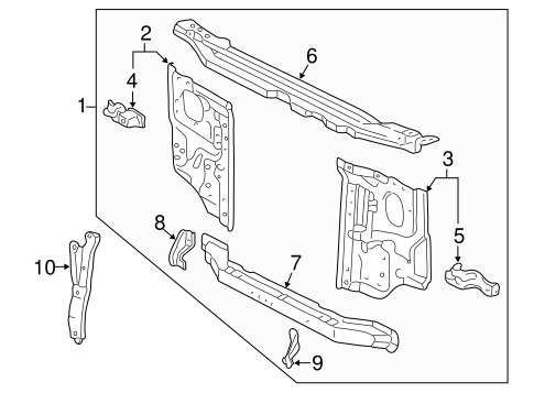 Genuine OEM RADIATOR SUPPORT Parts for 2002 Toyota Tacoma
