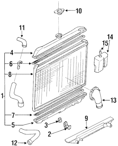 RADIATOR & COMPONENTS for 1993 Nissan D21