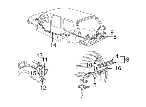 REAR WIPER COMPONENTS for 2001 Chevrolet Blazer
