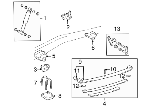 Genuine OEM REAR SUSPENSION Parts for 1996 Toyota Tacoma