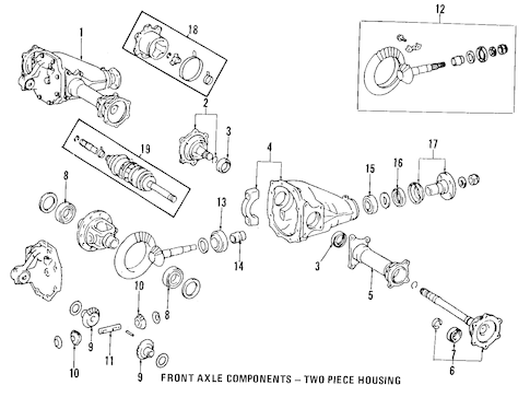 FRONT AXLE for 1991 Toyota Land Cruiser