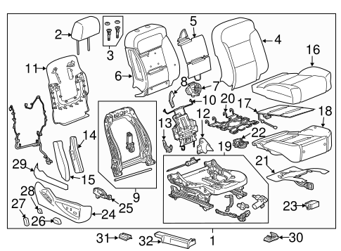 OEM PASSENGER SEAT COMPONENTS for 2015 Cadillac Escalade