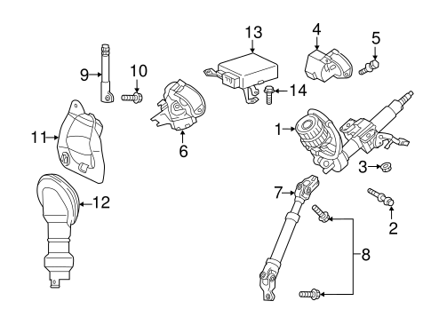 Genuine OEM STEERING COLUMN ASSEMBLY Parts for 2013 Scion
