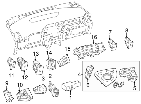 Genuine OEM SWITCHES Parts for 2010 Toyota Prius Base